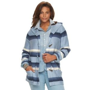 Chaps Blanket Stripe Toggle Sweater Jacket
